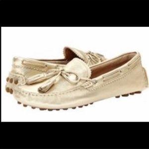 Coach New Gold Metallic Tassel Loafers Size 7